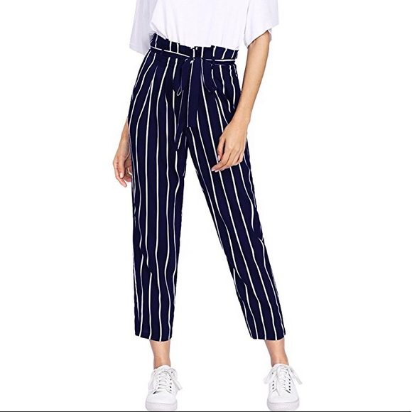 e40b78333d3 SheIn Women s Ruffle Tie Waist Pants with Pockets